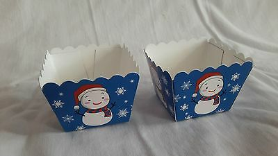 Home & Garden Intellective Xmas Snowman Blue Square Muffin Cases Baking Cup Cupcake 20pcs 4.5x4.5x4.5cm Crazy Price Kitchen, Dining & Bar