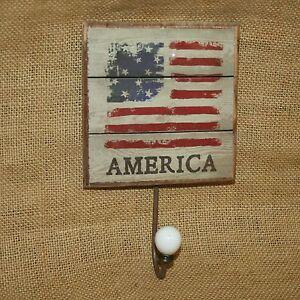 America Wall Sign Hook Hanger Patriotic Rustic Americana Flag Home Decor