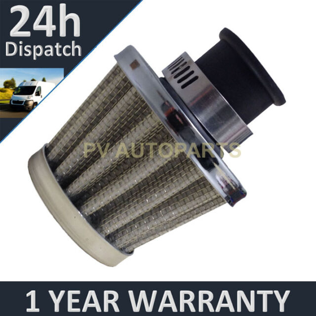 12mm AIR OIL CRANK CASE BREATHER FILTER MOTORCYCLE QUAD CAR SILVER CONE