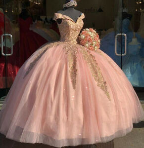 Sweet 16 Pink Quinceanera Dresses Off Shoulder Gold Lace Prom Gowns V-Neck Gown