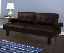 Couches And Loveseats Leather Futon Sofa Bed Sleeper For Small Spaces Room Brown