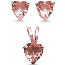 Rose Gold Pltd Heart Solitaire Morganite Sterling Silver Earring & Pendant Set