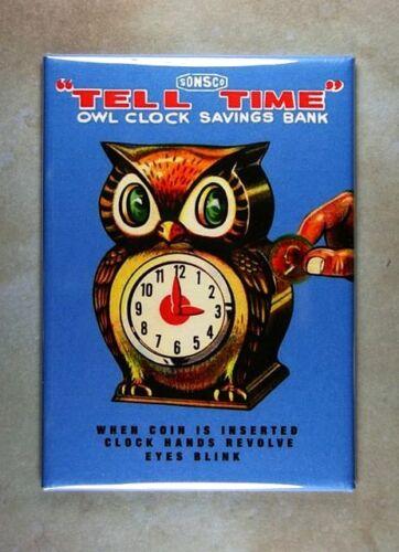 "Vintage Toy Box Art Fridge Magnet 2 1//2/"" x 3 1//2/"" Owl Clock Coin Bank  Sonsco"