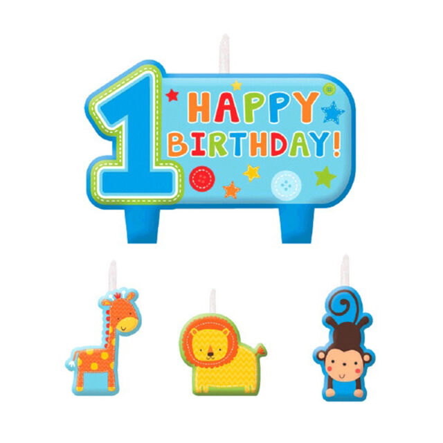 4 Piece Wild Fun To Be One Blue Boy's 1st Birthday Party Cake Decoration Candles