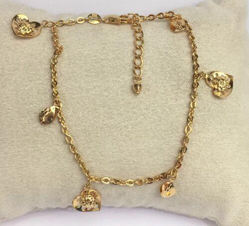 7 cm 18k solide or jaune MIX Charms Diamond Cut Italie Bracelet 3.82 G