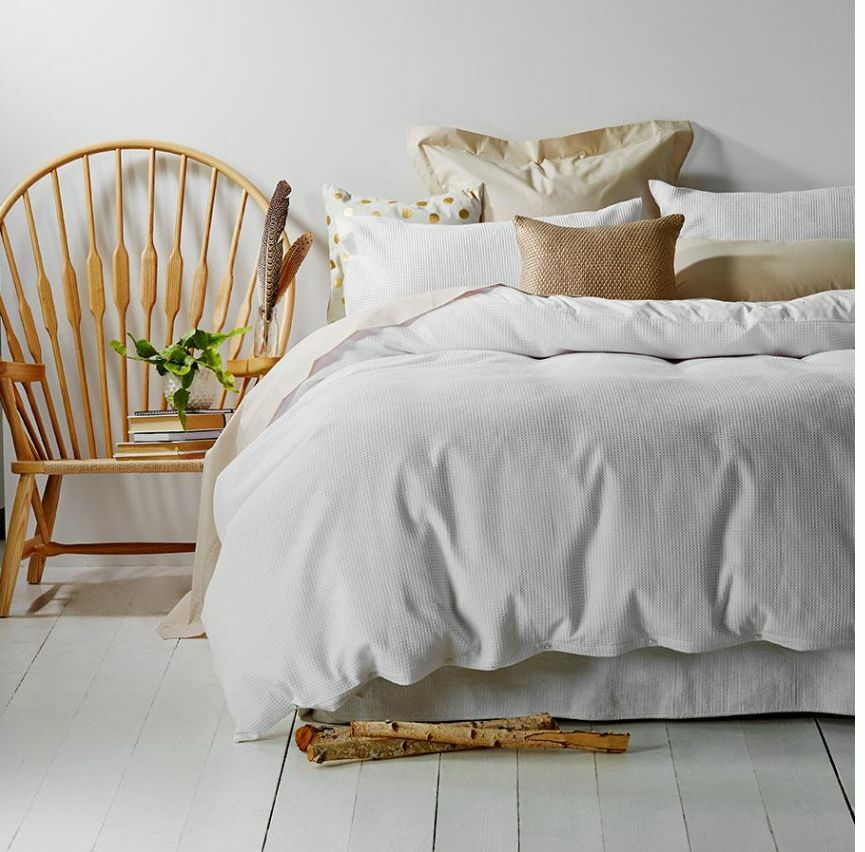 Pure Lux bianca Cotton Waffle Quilt   Doona Cover 3 Piece Set  - King Bed