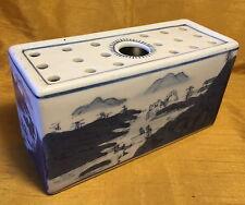 Antique Chinese Blue/White Painted Landscape Scene Porcelain Pillow Headrest