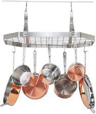 Kitchen Organizer Storage Pot Pan Holder Stainless Steel Hanging Cookware Rack