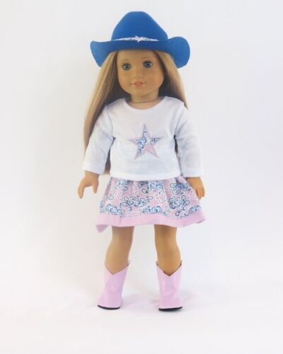 """Doll Clothes 18/"""" Western Skirt Blue Pink Hat Boots Fits American Girl Dolls"""