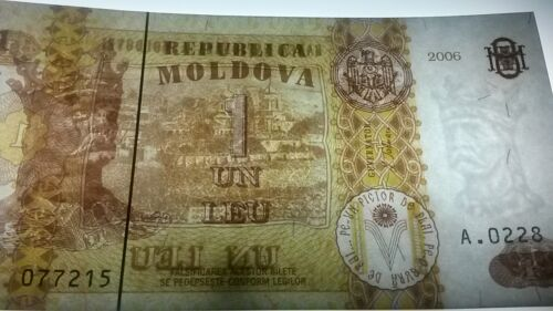 1 Leu see UV /& w//m images King Stefan the Great // Monastery UNC Moldova P8