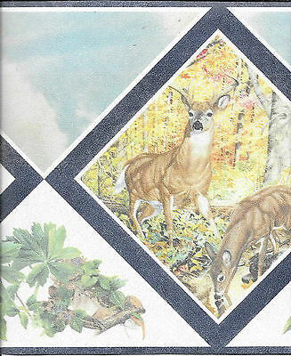 DEER AND FAWNS-NAVY BLUE WALLPAPER BORDER