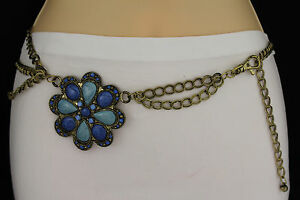 Nuevo Mujer Oxidado Cinturón Dorado Metal Cadenas Flor Grande Negro Azul Cadera