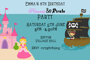 Details About Personalised Princess And Pirate Birthday Party Invitations Inc Envelopes 2