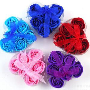 6Pcs Rose Favor Soap Flowers Solid Color Decor Party Home Wedding Body Bath
