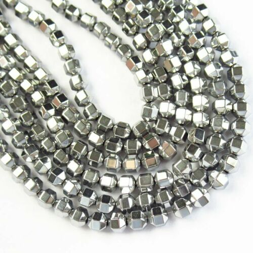 """4x4mm Faceted Silver Hematite Drum Pendant Loose Bead 15.5 /"""" 1Strand A-416TS"""