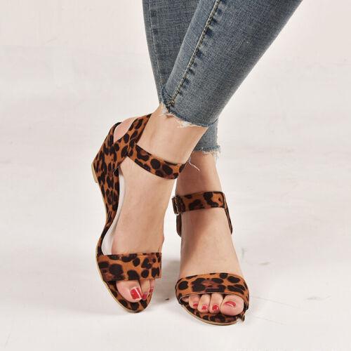 Womens Ladies Slingback Sandals Mid Block Wedge Heels Buckle Ankle Strap Shoes
