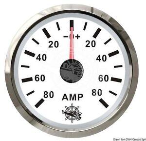 "OSCULATI Ammeter Gauge 52mm 2"" -80/+80 Amp White/Glossy"