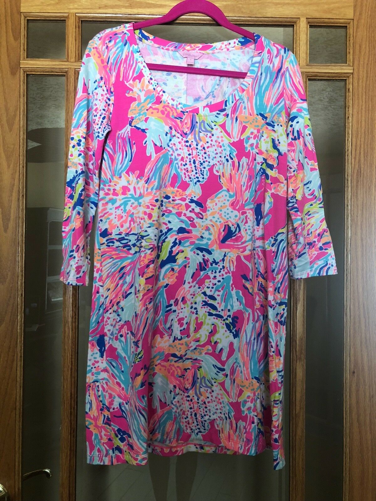 Lilly Pulitzer Tiki Pink Sunken Treasure Devon A-Line Dress Size Small