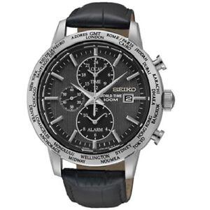 Seiko-SPL049-P2-Black-Dial-Leather-Band-World-Time-Alarm-Men-039-s-Analog-Watch