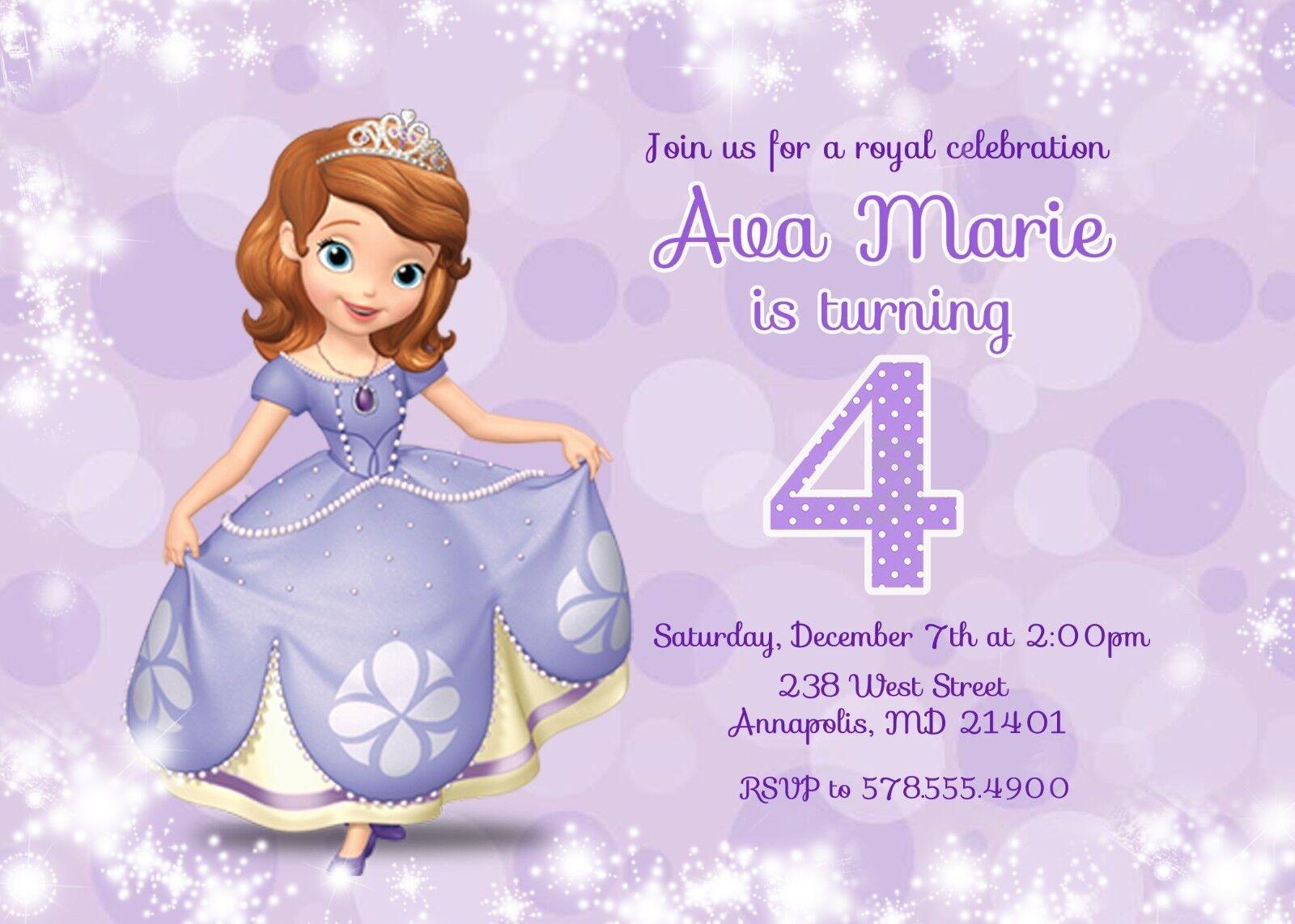 Sofia The First Invitation Princess Birthday Party Invitation