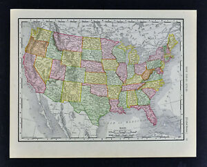 Map Of Texas And Florida.1911 Mcnally Map United States Texas California Florida New York