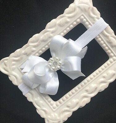 IVORY or WHITE baptism flower girl satin flower lace headband pearl rhinestone