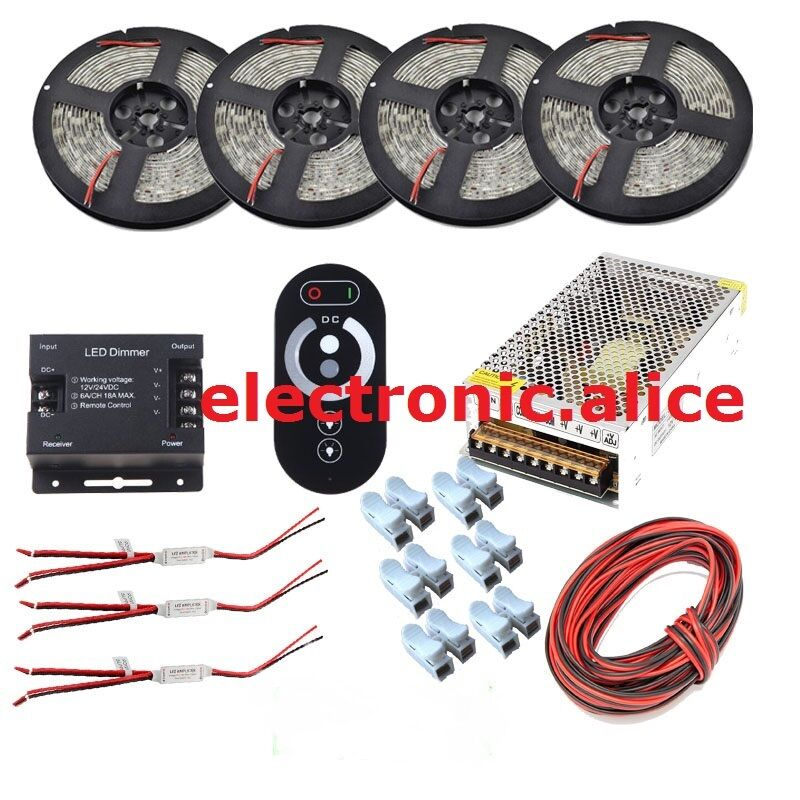 20M Kit de Tira LED Regulable 5050 5630 2835 Impermeable + radio frecuencia Dimmer táctil + fuente de alimentación
