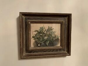 Antique-Art-Watercolor-Still-Life-of-Flowers-In-Solid-Wood-Frame-Glass-9-2x8-Inc