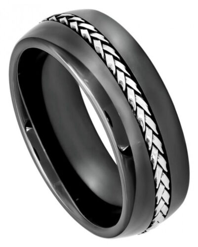 Black Ceramic Ring Men Women Wedding Band with Braided Stainless Steel Inlay 8mm
