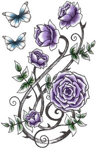 Body Art Temporary Tattoo Purple Roses Blue Butterflies Flowers