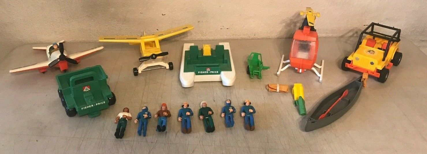 Collection Of Vintage Fisher Price Ranger Wilderness Vehicles   People   Access.