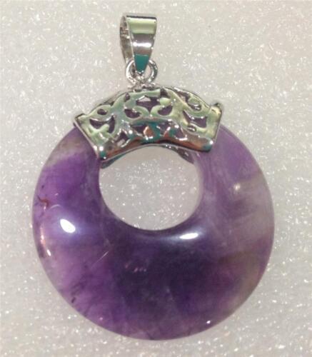 Natural New Pretty Purple Russian Amethyst Gems Annularity Pendant 18KGP