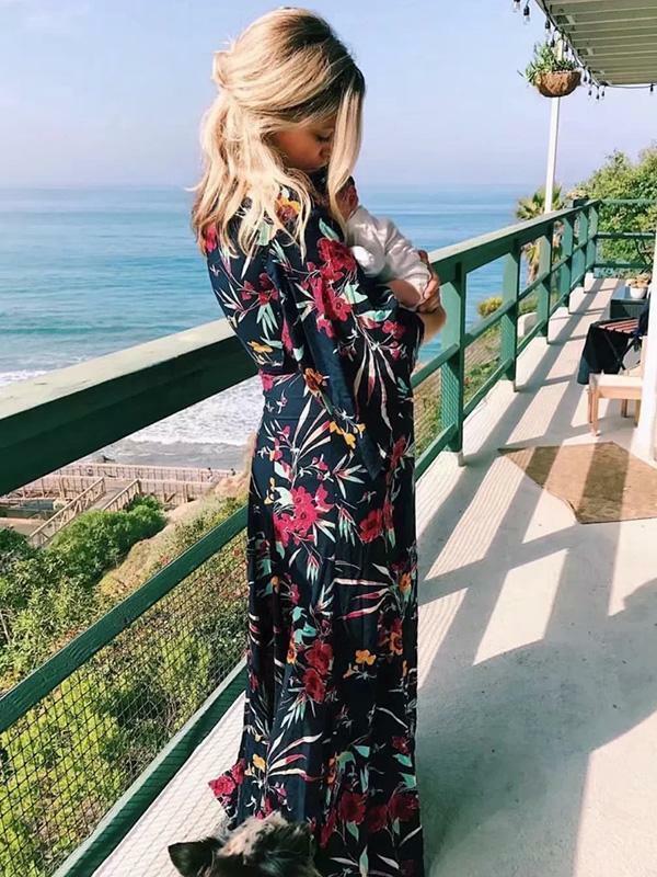 Elegante abito abito abito vestito morbido lungo boho bohemian hippie nero fiori ampli  5073 ba6f50
