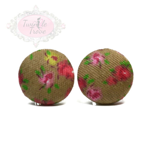 Vintage Style Shabby Chic Fabric Rose Print Stud Earrings Floral Chic Retro
