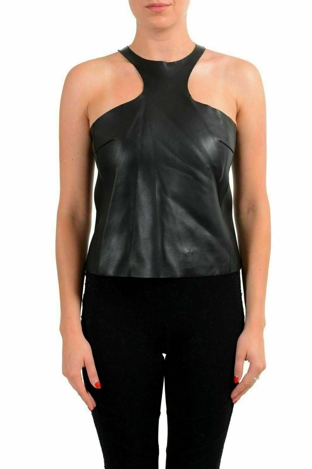 Dsquarot2 100% Leather schwarz Sleeveless Woherren Blouse US XS IT 38