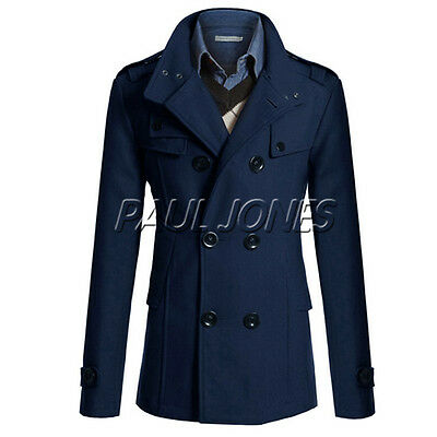 Mens Winter Parka Peacoat Trench Coat Slim Fit Jacket Wool Blends Overcoat S- XL