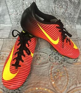 Nike-Mercurial-Soccer-Cleats-Shoes-Black-Orange-Yellow-Kids-Youth-Size-6