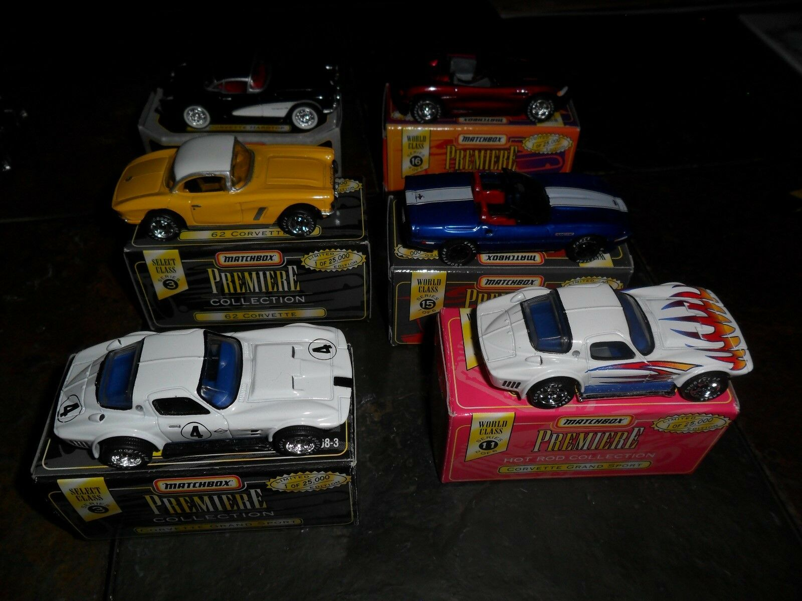 Lote de 6 Matchbox Premiere realriders Grand Sport Stingris Corvette 1957 1962 1987