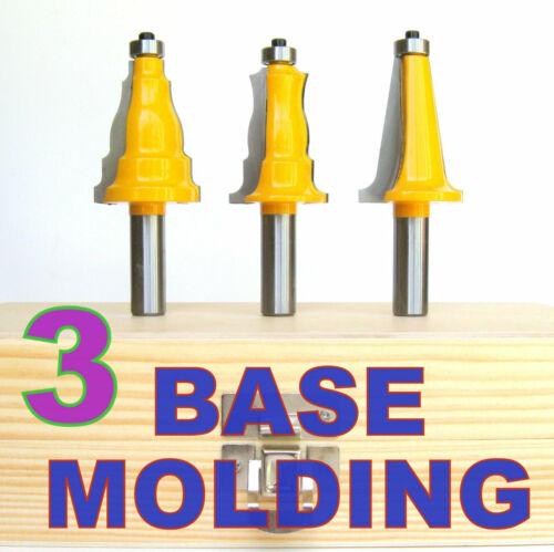 """3pc 1//2/"""" SH Base Architectural Molding Router Bit Set S"""