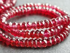 "HAND FACETED GARNET RONDELLES, approx 5mm, 12.5"", 110+ beads"