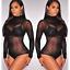 Ladies Meshing Sheer Strechy Bodysuit Long Sleeve See-Through Top Plain Lingerie