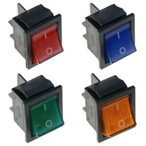 Illuminated-Large-On-Off-Rocker-Switch-250V-DPST-Red-Blue-Green-Yellow