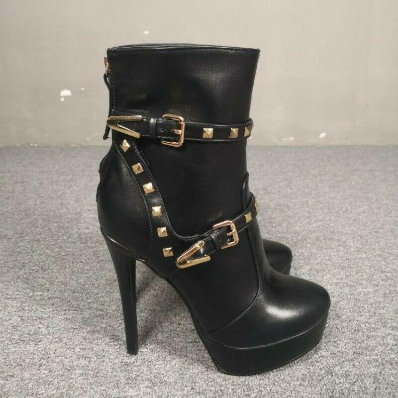 Ladies Buckle Platform Super High Heel Buckle Rivet Stilettos Heel Ankle Boots