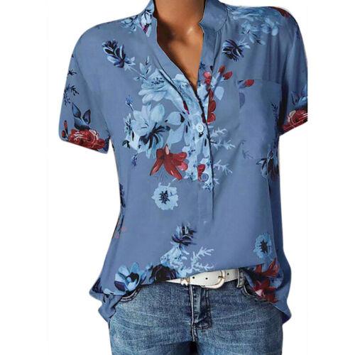 Damen Blumen Bluse Kurzarmshirt Longshirt Longtop Oberteil Top Feizeitshirt 48