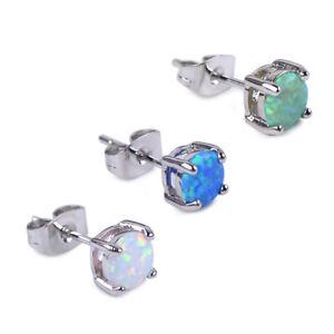 1-Paar-Damen-6mm-Opal-Silber-Ohrstecker-Nagel-Ohrringe-Modeschmuck-Geschenk