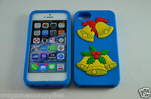 Blue-Christmas-Bells-X-Mas-iPhone-SE-5S-5G-5-3D-Silicone-Gel-Full-Back-Case-NEW