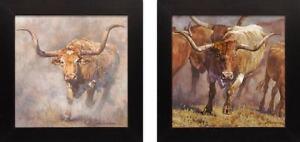 Trouble-amp-Tex-by-Regan-Gennusa-2-SN-LE-Texas-Longhorn-Steers-Giclees-On-Canvas