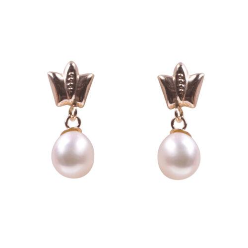 9ct GOLD PEARL DROP BUTTERFLY EARRINGS Ladies Jewellery New 7467