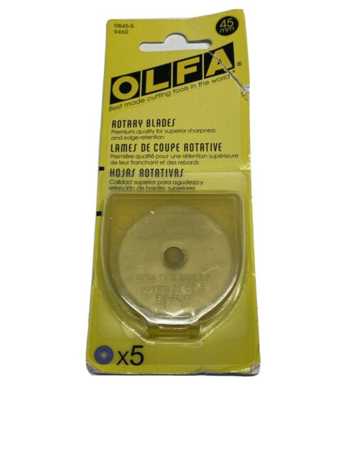In Package w// case! OLFA Rotary Blades 45mm x 5 Blades RB45-5 9460 NEW