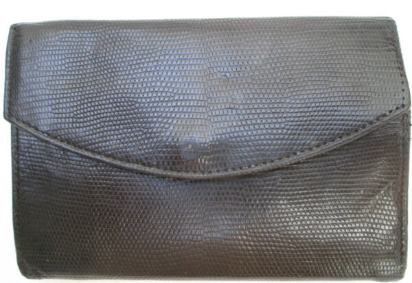 -authentique Portefeuille-porte-monnaie Cuir Reptile Tbeg Vintage 70's Ottima Qualità